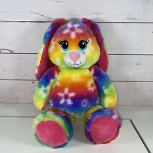 "16"" Build A Bear Bright Blooms Retired Tie-Dye Rainbow Bunny BAB Workshop 2014"