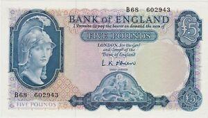 B277 L.K.O'BRIEN £5 B68 BANKNOTE IN NEAR MINT CONDITION