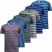 New Mens Striped T-Shirt Short Sleeve V Neck Summer Casual Stripey Top S-3XL