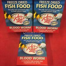 3 x Blood Worm Freeze Dried Fish Food Protein Tropical Goldfish Marine Turtle
