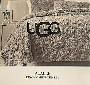 NWT UGG Adalee King Comforter 3-Piece Set Luxurious Glamour-Faux Fur Seal/Gray