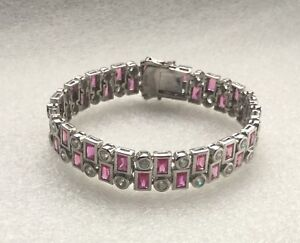 STERLING SILVER 925 RHODIUM PLATED SIMULATED RUBY & CZ 2 LINE BRACELET - CANADA