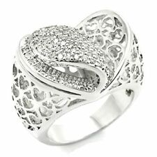 Heart Ring Rhodium Plated Clear Cubic Zirconia Statement Ring Size 8 US P AU