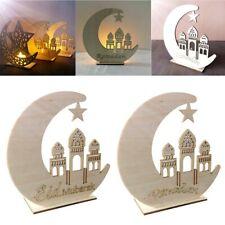 LED Wooden Eid Mubarak Plaque Ramadan Ornament Muslim Decor Pendant