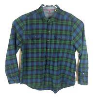 Woolrich Men's Flannel Shirt XXL 2XL Plaid Long Sleeve Button Front Blue Green