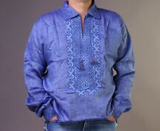 VYSHYVANKA Man Ukraine Embroidery LINEN Blue shirt Polo collar S-4XL