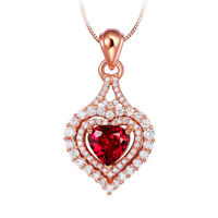 Rose Gold Plated Love Heart Red Fire Garnet White Topaz Silver Necklace Pendants