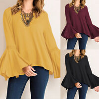 Women's Long Bell Sleeve Crochet Shirt Tops Loose Round Neck Blouse Plain Tops