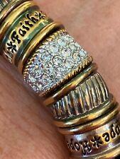 Peace Hope Faith Love Charm Rhinestone Silver Gold Tone Stretch Bracelet