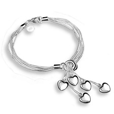 Heart Pendant Bangle Chain Bracelet Fashion Women 925 Silver Plated Multilayer