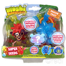 New Moshi Monsters Super Seeds Zommer & Blue Dragon Fruit Action Figure Official