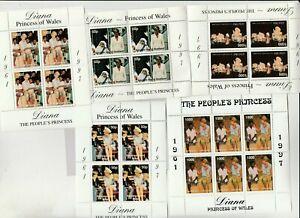 5 Kleinbögen Diana postfrisch 1409