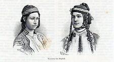 Antique print portrait ladies / Baghdad Iraq 1887