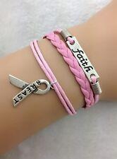 Bracelet rose ruban. Faith. Lutte contre le cancer