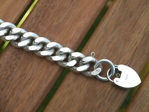 LARGE HEAVY Solid Sterling HALLMARKED Silver GENTS CHAIN Bracelet 98grms !!