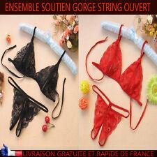 Ensemble sexy soutien gorge + string ouvert noir et rouge