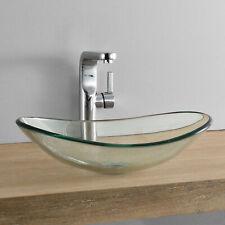 [neu.haus] Waschbecken oval Waschschale 47x31cm Glas Waschtisch Aufsatzbecken