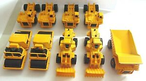 Hot Wheels Cars Lot Of 9 Construction Vehicles Steam Roller Wheel Loader More