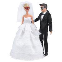 1 Set Wedding Gown Dress Clothes+ Formal Suit Outfit For Ken Doll .AU