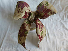 60 mm x 1 METRE  Wired Christmas Poinsettia Hessian Ribbon - Cakes/Bows/Garlands
