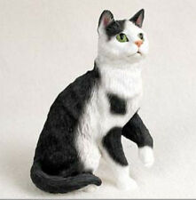 BLACK WHITE SHORTHAIRED TABBY CAT Figurine Statue Hand Painted Resin Gift