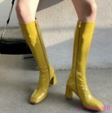 Ladies Block Heel Square Toe Shiny Real Leather Mid Calf Knee High Riding Boots