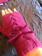 New Lowie angora wool fingerless gloves, cerise purple, cable knit, bow, rrp £39