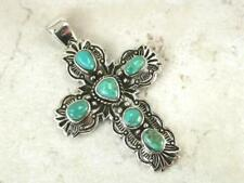 LARGE EXOTIC STERLING SILVER TURQUOISE CROSS PENDANT style# p0131
