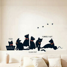 Black Cat Play Room Removable Decal Vinyl Mural Art Wall Sticker Decoration