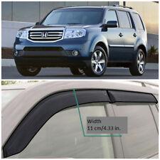 Wide Window Visors Side Sun Rain Guard Vent Deflectors For Honda Pilot 2009-2015