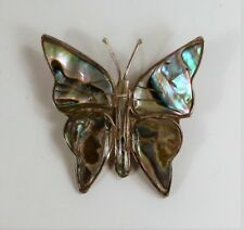 Mexico - Sterling Silver Abalone Shell Butterfly Pin / Brooch - Vintage