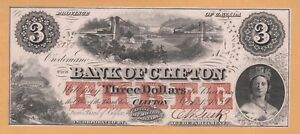 Bank of Clifton $3 UNC 1859 CHARLTON #125-10-04-04 Banknote