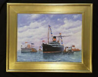 Steamship Original Painting Ship in Port Original Seascape Maritime Painting