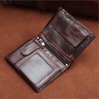 Men's Genuine Cowhide Leather Bifold Wallet Short Card Holder Vintage Coin Purse