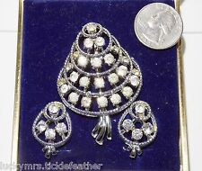 Vtg CAMELOT Pin/Clip Earring Set, Rhinestone Mushroom? Flower? Leaf?  Orig Box