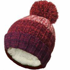 Ladies Mens Cable Knitted Stripe Beanie Hat Sherpa Fleece Lined Large Pom Pom