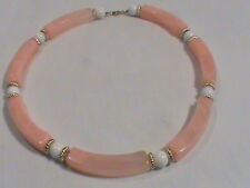 Vintage Large Elongated Swirly Pink Plastic and Round White Bead Collar Necklace