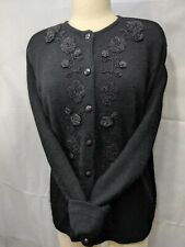 Karen Scott Beaded Angora Silk Wool Sweater Cardigan Large Vintage Flowers Black