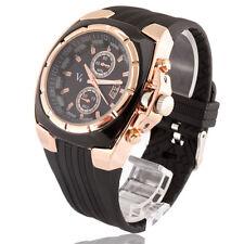 New V6 Mens Sport Wrist Watch Big Face Black Color Gold Case Analog Sport HOURS