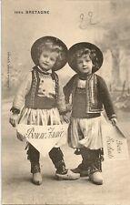 CARTE POSTALE BONNE ANNEE BRETAGNE ENFANT FOLKLORE COSTUME TRADITIONNEL BRETON