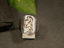 Toller 925 Silber Ring Groß Modern Echse Gekko Siegelring Salamander Elegant