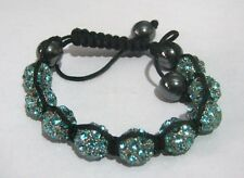 Great blue sparkly friendship style bracelet heavy beaded adjustable size