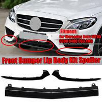 3PCS Front Bumper Lower Black Trim Lip Set For Mercedes W205 C Class / AMG