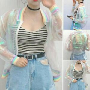 Womens Iridescent Transparent Jacket Holographic Coat Laser Bomber Outwear Tops