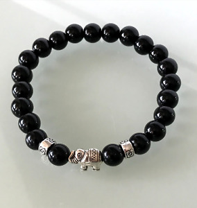 Protection Anxiety Stress Relief Silver Elephant Black Obsidian Crystal Bracelet