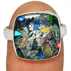 Ethiopian Opal In Pyrite 925 Sterling Silver Ring Jewelry s.8 BR82599