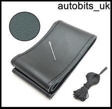 Noir cuir véritable À faire soi-même Steering Wheel Cover Taille M avec Aiguille Filetages et u