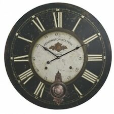 Large Hanging Wall Clock & Pendulum Kensington Station London Train Wall Decor