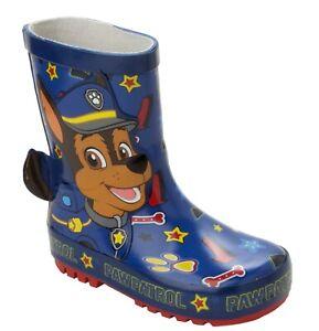 BOYS PAW PATROL BLUE 3D RUBBER WELLIES WELLYS RAIN WELLINGTON BOOTS UK SIZE 5-10
