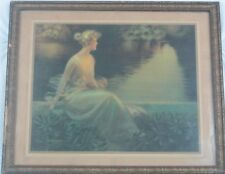 """Antique Art Deco Lithograph """"The End of the Perfect Day"""" C Warde Traver Listed"""